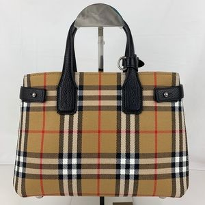 New Small Banner House Tote in Check and Leather